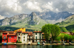 Pescarenico (Lecco Italien) Arkivbilder