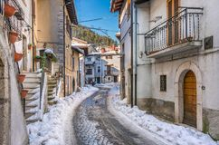 Pescasseroli on a sunny winter afternoon. Abruzzo National Park, Italy. Pescasseroli is a town and comune in the province of L`Aquila, in Southern Abruzzo royalty free stock images