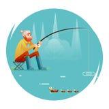 Pescatore adulto di pesca con la pesca dell'illustrazione piana di vettore del modello di progettazione dell'icona di Rod Birds I Immagine Stock