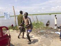 Pescatore africano Immagini Stock