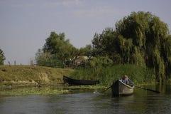 Pescatore al delta di Sulina Danubio Fotografia Stock Libera da Diritti