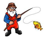 Pescatore anziano illustrazione vettoriale