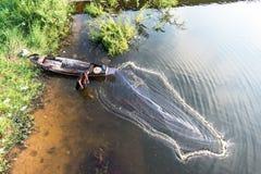 Pescatore asiatico immagini stock
