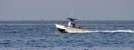 Pescatore in barca sopra l'oceano Pacifico, visto da Carlsbad California Fotografia Stock