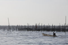 Pescatore che attraversa un lago Fotografia Stock