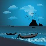 Pescatore che spinge barca nel mare Immagini Stock