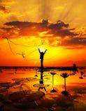 Pescatore del lago Immagine Stock