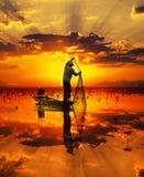 Pescatore del lago Fotografie Stock Libere da Diritti