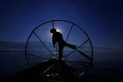 Pescatore del lago Inle Immagini Stock Libere da Diritti