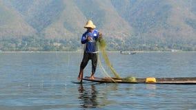 Pescatore del lago Inle Fotografia Stock