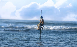 Pescatore del trampolo - Sri Lanka Fotografie Stock