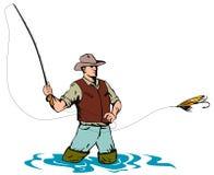 Pescatore della mosca che cattura una trota illustrazione di stock