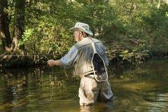 Pescatore della mosca con rete Fotografia Stock Libera da Diritti