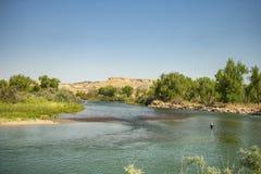 Pescatore della mosca lungo il fiume Arkansas fotografia stock libera da diritti