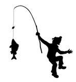 Pescatore della siluetta di vettore Immagini Stock