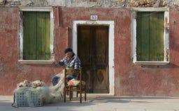 Pescatore di Burano. Fotografia Stock
