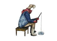 Pescatore di inverno in acquerelli Fotografia Stock Libera da Diritti