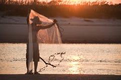 Pescatore di tramonto II Immagine Stock Libera da Diritti