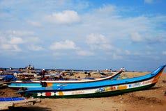 Pescatore e barche Fotografia Stock