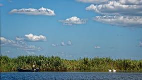 Pescatore e pellicani sul delta di Danubio immagine stock libera da diritti