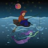 Pescatore e sirena sotto la luna Fotografia Stock