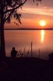 Pescatore ed il sole Immagini Stock