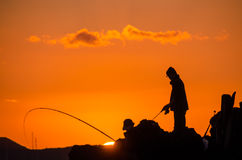 Pescatore Fishing Rod Silhouette Fotografia Stock Libera da Diritti