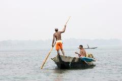 Pescatore indiano sul lago Chilika Immagini Stock Libere da Diritti