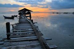 Pescatore Jetty di Jelutong durante l'alba Fotografia Stock Libera da Diritti