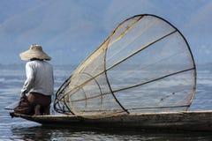 Pescatore - lago Inle - Myanmar Immagine Stock