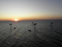 Pescatore in mare Immagine Stock Libera da Diritti