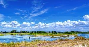 Pescatore nel fiume Snake nell'Idaho Fotografia Stock Libera da Diritti