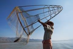 Pescatore nel lago Inle Fotografie Stock