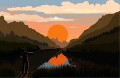 Pescatore nel paesaggio della montagna Fotografia Stock Libera da Diritti