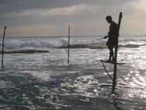 Pescatore nello Sri Lanka Immagine Stock