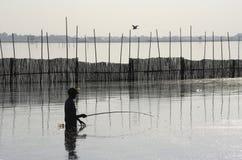 Pescatore Silhouette. Fotografia Stock