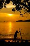 Pescatore Silhouette fotografia stock libera da diritti