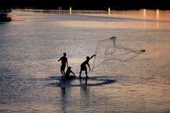 Pescatore su acqua Fotografia Stock Libera da Diritti