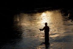 Pescatore sul fiume Fotografia Stock Libera da Diritti