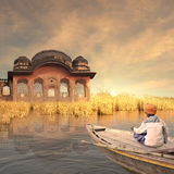 Pescatore sul Gange Immagine Stock Libera da Diritti