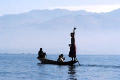 Pescatore sul lago Inle Immagine Stock