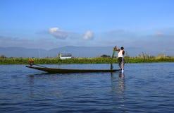 Pescatore sul lago Inle, Myanmar Birmania fotografia stock libera da diritti
