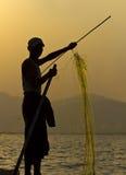 Pescatore sul lago Inle Myanmar/Birmania Fotografie Stock Libere da Diritti