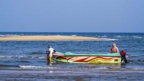 Pescatore tradizionale in Kalpitiya, Sri Lanka Fotografia Stock Libera da Diritti