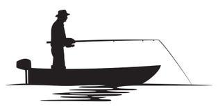 Pescatore in una siluetta della barca Immagine Stock