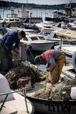 Pescatori anziani e un gabbiano Immagine Stock Libera da Diritti