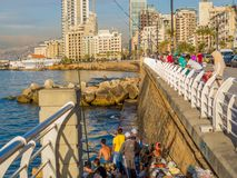 Pescatori a Beirut, Libano fotografia stock