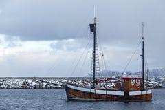 Pescatori che puliscono la taglierina dopo la metà del pesce Fotografie Stock Libere da Diritti