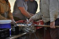 Pescatori che rendono pila delle casse piena Fotografie Stock Libere da Diritti