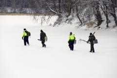 Pescatori del ghiaccio Fotografia Stock